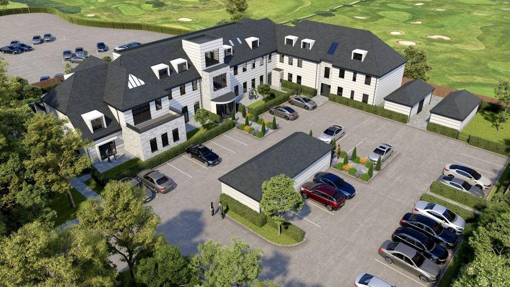 An indicative CGI of the exterior at The Fairways, Future Homes. For more information, please call 01843 604504